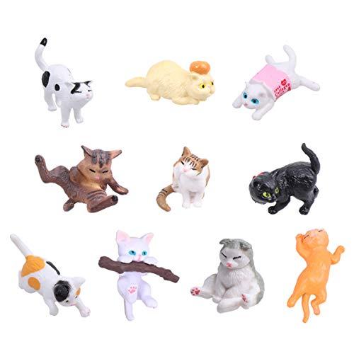 TOYANDONA 10 stücke Miniatur Garten zubehör Katze Figuren Spielzeug tierfiguren Miniatur Garten Dekoration Desktop Decor