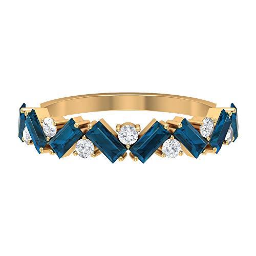 Rosec Jewels 18 quilates oro amarillo baguette round-brilliant-shape H-I Blue Diamond Topacio azul - Londres