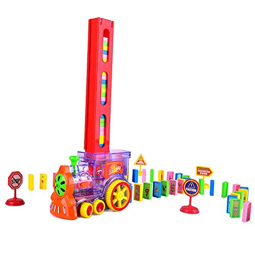 Tarjetas de aprendizaje Domino de 80 piezas, tren transparente para niños, bloque de bloques eléctricos Juguete con luces, juguetes de rompecabezas para 4 5 6 7 años de edad, niñas, niños, regalos cre