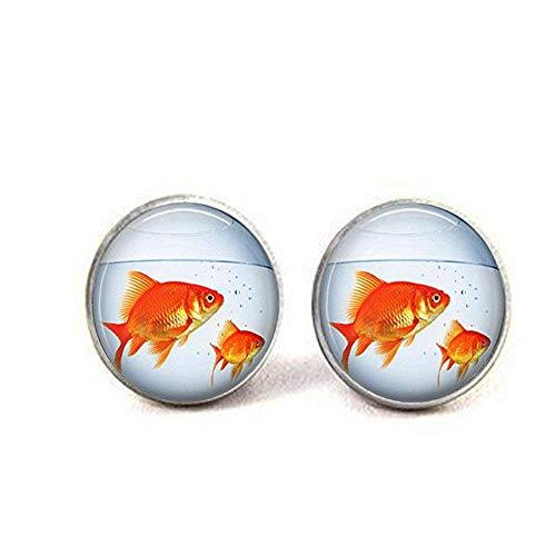Orecchini a forma di boccia di pesce dorato per acquario
