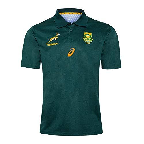 LQLD 2020 Südafrika Rugby-Trikots, Springbok Rugby Schnelles Trocknung-Shirt Atmungsaktives Polo-Hemd Kurzarm,Grün,M