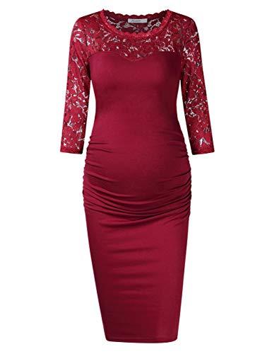 KOJOOIN Damen umstandskleid Schwangerschaftskleid,Lange ärmel elegentes Kleid Knielang(Verpackung MEHRWEG)