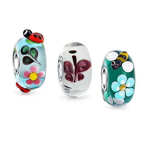 Bling Jewelry Garden Insect Lampwork Murano Glass Mix of 3 Sterling Silver Spacer Bead Fits European Charm Bracelet for Women for Teen