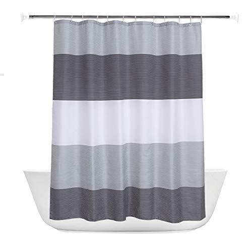 XTUK Home Decor - Tenda da doccia a righe nordiche, in poliestere, impermeabile, ispessita, con ganci, anti muffa, per bagno, grigio, 240*200cm