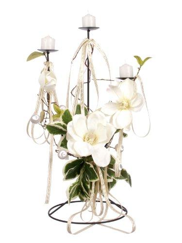 Closer To Nature - Candeliere con Rose, 50 cm, Colore: Bianco