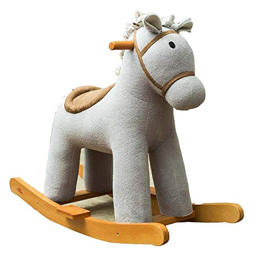 YYSDH Rocking Horses Rocking Horse with 47 Music?boy&Girl Rocking Animal 29.9 × 12.5 × 24.8inch?Wooden Rocking Horse 1-6 Year Old Kids Toys ?Birthday Gift (Color : Gray)