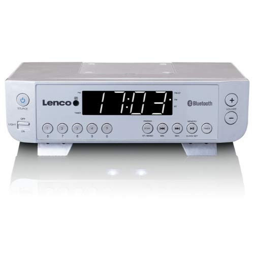 Lenco KCR-100 Kitchen Radio with Bluetooth, LED Lighting and Timer - Silber