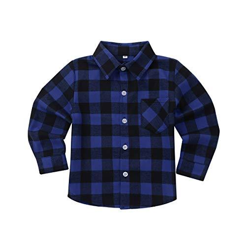 Freebily Unisexo Camisa de Cuadros Algodón Infántil para Niños Niñas Blusa Top de Cuello V Clásico Casual con Bolsillo Frente