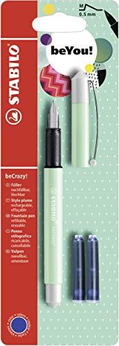 Penna Stilografica - STABILO beCrazy! Pastel in Menta - 3 Cartucce Blu incluse