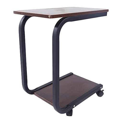 Sofa Side End Table, C Shaped Table Laptop Holder, End Stand Desk Coffee Tray Side Table, Notebook Tablet Beside Bed Sofa Portable Workstation, Over Bed Table (Brown)