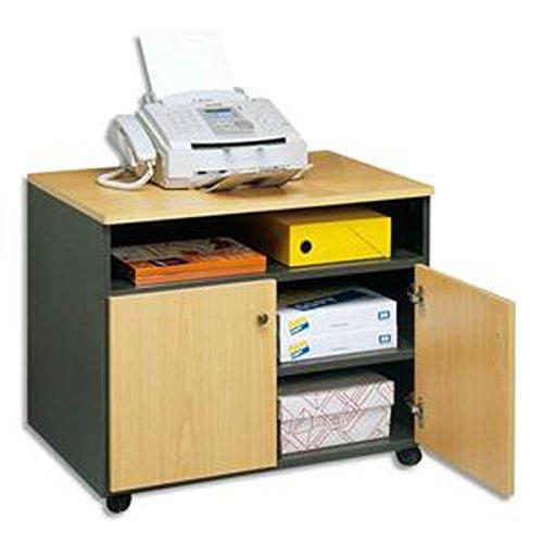 Meuble photocopieur 2 portes + tablette et niche coloris hêtre anthracite