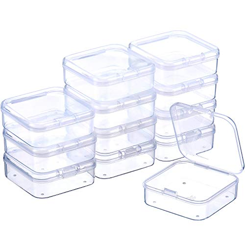 SATINIOR 12 Pezzi Trasparente Plastica Perline Contenitori Scatola con Coperchio Incernierato per Perline e più (2.12 x 2.12 x 0.79 Pollice)