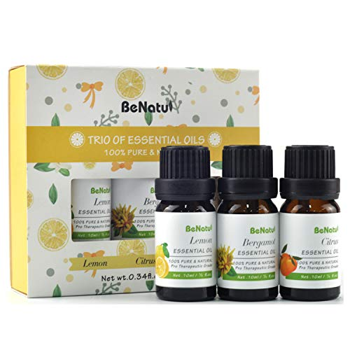 Citrus Essential Oils Set (Lemon, Bergamot, Mandarin) for Diifuser, Aromatherapy, Skin Care, Soap Making - Orangic & Pure Therapeutic Grade Kit for Home Cleaning, Body Massage - by Benatu