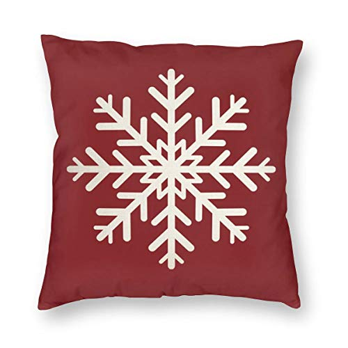 niBBuns Christmas Throw Pillow Cushion Cover,Merry Christmas Snowflake, Decorative Square Accent Pillow Case,White 18x18 inch