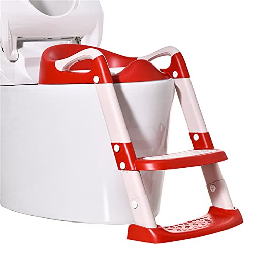 SSDM Asiento De Inodoro para Entrenamiento con Orinal con Escalera De Taburete con Escalón Asiento para Orinal Acolchado De PU para Niños Pequeños,B