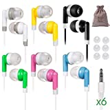 6 Pack School Earbuds Kids Ear Buds for Boys Girls Comfortable Ergo Bulk Multipack Earphones Corded Class Set andriod chromebook Young ipad Headphones Small Comfy Size Classroom Child Sized