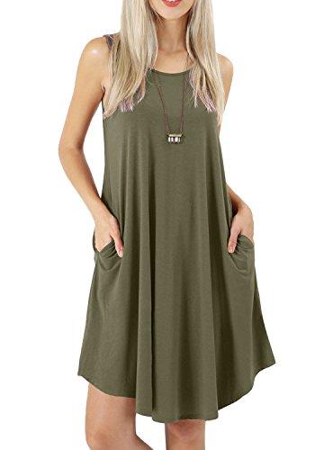 Bequemer Laden Damen Sommerkleid Ärmelloses Kleider Casual T-Shirt Kleid Rundhals Strandkleid mit Taschen …