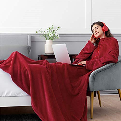 Bedsure Batamanta Polar Mujer Sofa - Manta con Mangas y Bolsillo Hombre para Pies de TV, Blanket Hoodie Suave y Acogedor,Burdeos,170x200cm