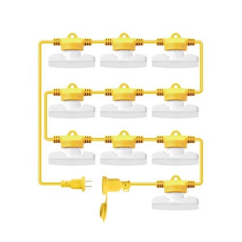 LED Temporary Work Light, 90W 10500LM 5000K 100FT 10 Sockets LED Construction String Temp Light for Job Site Workshop Warehouse, UL Listed, 10 Bulbs Included