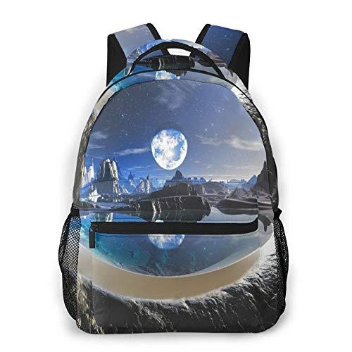 CVSANALA Multifuncional Casual Mochila,Reflejo del planeta de agua en piscinas de rocas alienígenas,Paquete de Hombro Doble Bolsa de Deporte de Viaje Computadoras Portátiles