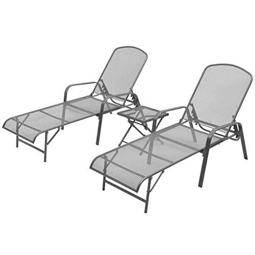 Daonanba Chaise Longue avec Table élégant en Maille Confortable