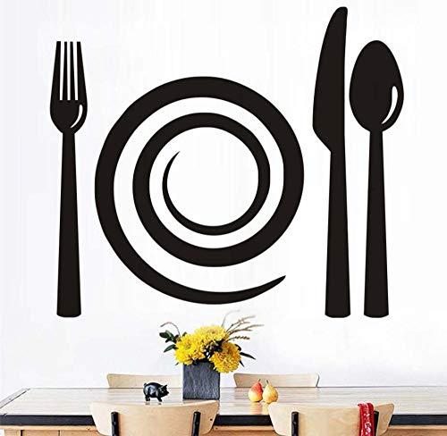 CQAZX Gabel Messer Löffel Wandtattoos Abnehmbare PVC Wandkunst Wand Küche Bäckerei Schaufenster Vitrine Wandaufkleber Steuern Dekor 67 * 58 cm