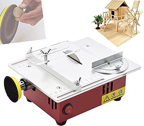 WXFCAS Sierra de mesa multifuncional, pequeña máquina de corte para el hogar, sierra circular superior con función de pulido, hoja de sierra puede elevarse rebajada para BRICOLAJE Modelo hecho a mano,