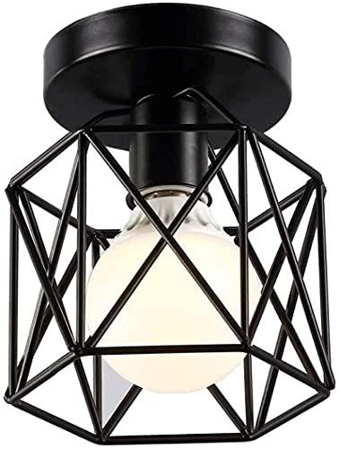 Coding Lámpara de techo vintage con forma de jaula de hierro y alambre, lámpara de techo retro, industrial, color negro, vintage, para salón, café, bar, restaurante