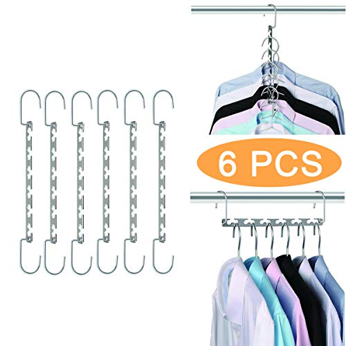 Crozzy 6pcs Multi Hangers Saving Space For Wardrobes Clothes Magic Clothes Closet Hangers, Fit For Clothes Organizer In Dormitory, Bedroom, Bathroom,26cm Long Cascading Silver