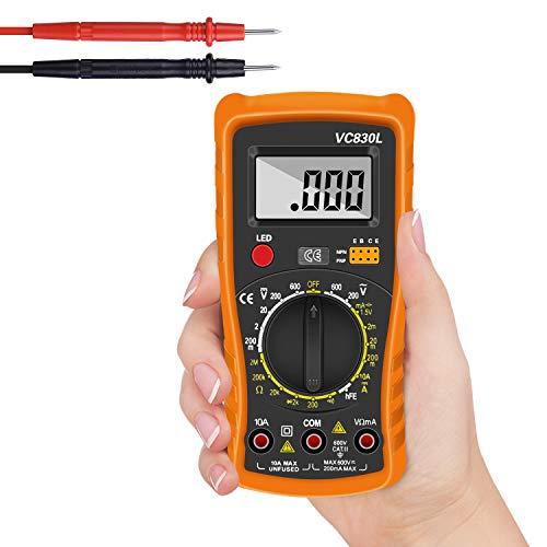 Multimetro Digital Profesional, Tester Digital Voltímetro Amperímetro AC DC, Ohmímetro Probador con Pantalla LCD Mide Voltaje y Corriente para Escuela, Laboratorio, Fábrica