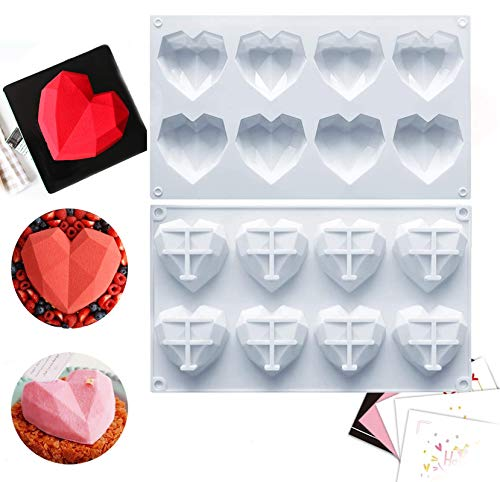 Reusable Silicone Chocolate Mold with 3D Diamond Heart Love Shape, Easy Release Cake Mold Candy Trays for Mousse Cake Baking, French Dessert, Jello, Pastry, Brownie, Ice Cube, Soap (1, 8cup)