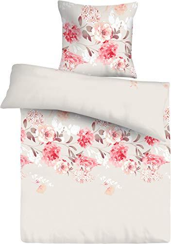 FAKTOR - 2 Premium Bettwäsche-Set (2-teilig) Beige Creme mit Blumen, Bettdeckenbezug 135x200, Kopfkissenbezug 80x80, mit praktischem Reißverschluss, Renforce 100% Baumwolle, Öko-Tex