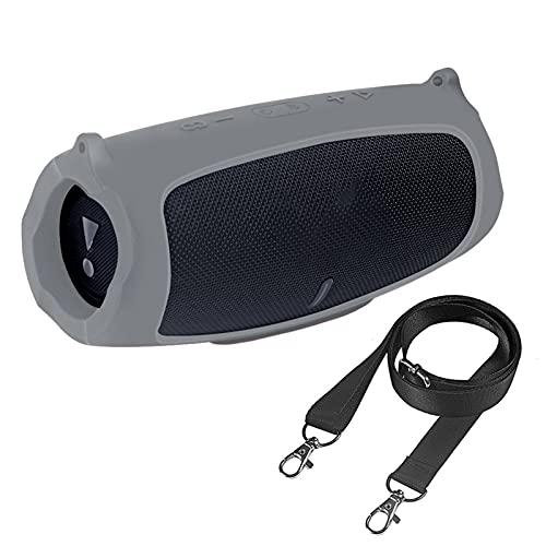 Altoparlante Pelle per cassa in silicone da viaggio all'aperto con cinturino per JBL. Carica 5 Copertura protettiva altoparlante Bluetooth senza fili portatile altoparlante bluetooth ( Color : Grey )