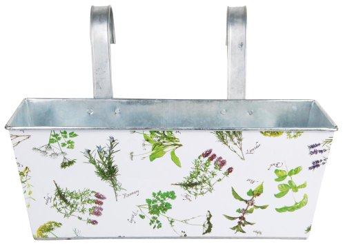Esschert Design 2 Stück Balkonkasten, Blumenkasten mit Kräuterdruck aus Zink mit Haken, 7,5 Liter, ca. 40 cm x 25 cm x 27 cm