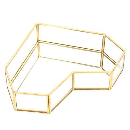 Marvvdy Bandeja de exhibición de Vidrio Dorado en Forma de corazón, Caja con Tapa de Caja de Vidrio Transparente con exhibición de Joya pequeña para Escritorio, baño y decoración del hogar