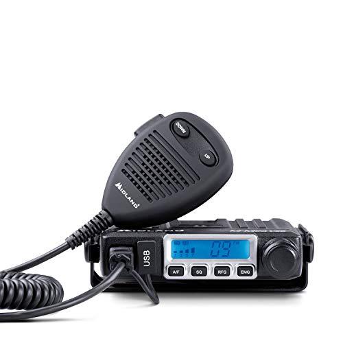 Midland M-MINI USB CB Radio - Multistandard Mini CB Radio with USB Socket - 40 AM/FM Channels,...