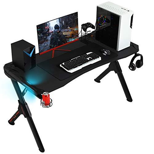 SEDETA R-förmiger Gaming Tisch, Gaming Schreibtisch, Gaming Computertischmit LED Beleuchtung, PC Gaming Gamer...