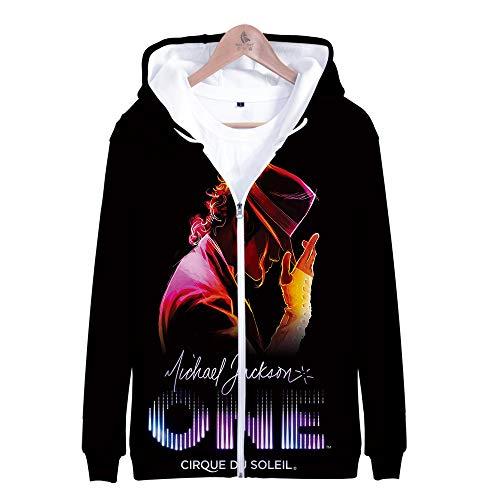 KJYAYA 3D Full Zip Hoodie Michael Jackson Sweatshirt Mit Kapuze Unisex-Top 3D Gedruckter Langarmpullover Fan Geschenk