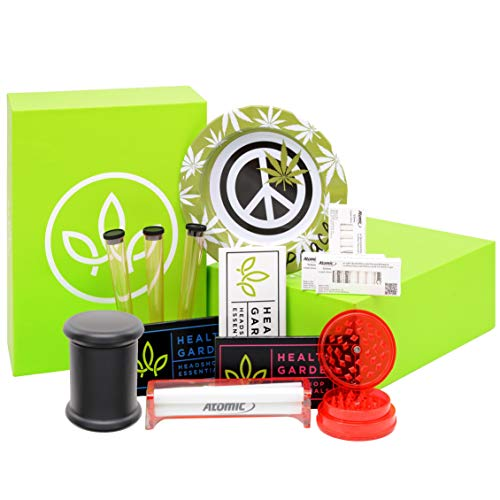 HEALTHYGARDEN 13-Teilig Rolling Starter-Set - 1x Roll-Maschine | 1x 6cm Grinder | 3X Kingsize-Tube | 1x Glass Storage | 1x Ashtray |30x 6mm Aktivkohlefilter | 1x 32 Pink, Blau, Weiß HG Papers