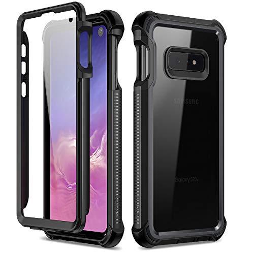 Dexnor Funda Compatible con Samsung Galaxy S10e 360 Grados, Carcasa Ultra Hybrid, Transparente PC Back TPU Bumper Resistente Impactos antigolpes Cover Galaxy S10e - Negro Mate