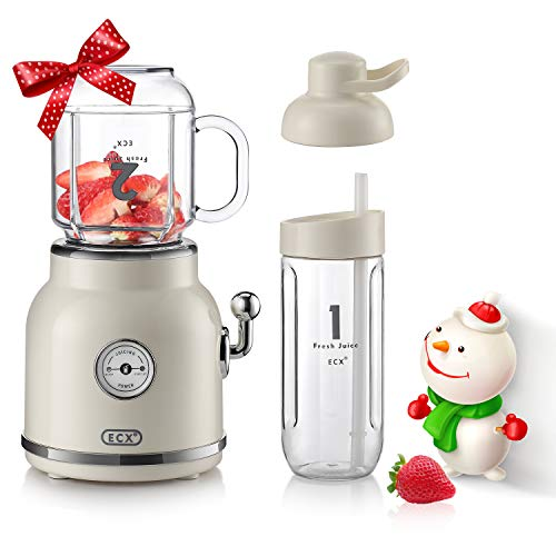 Smoothie Blender with 6 Sharp Blades, ECX Personal Blender for Shakes and Smoothies, Portable Blender with 20.3 oz Tritan BPA-Free Travel Cup and Lid
