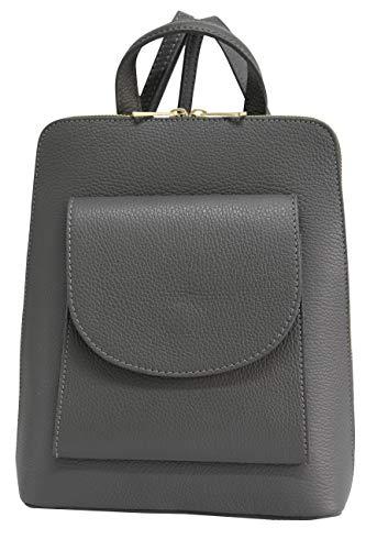 AMBRA Moda echt Leder 2 in 1 Damenrucksack DayPack Schultertasche Umhängetasche Henkeltasche GL020 (Dunkelgrau)