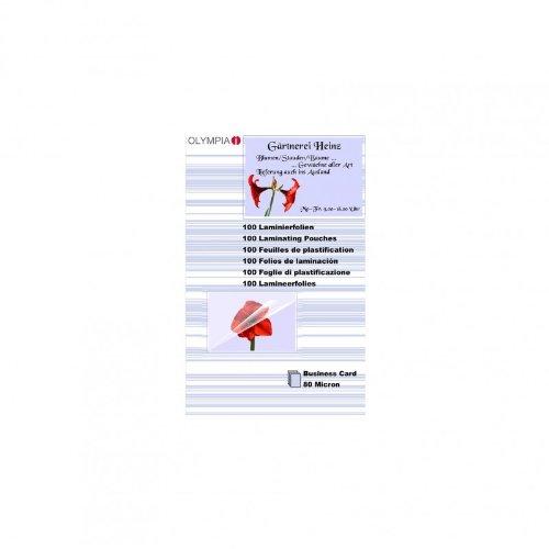Olympia 9169 Fundas para plastificar, 80 Mic, para tarjetas de presentación, 100 unidades