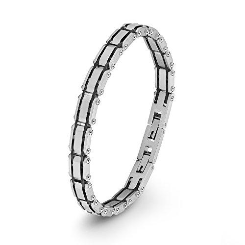 S.Oliver Herren Armband IP BlackBeschichtung Bicolor Edelstahl 2012489 22 cm