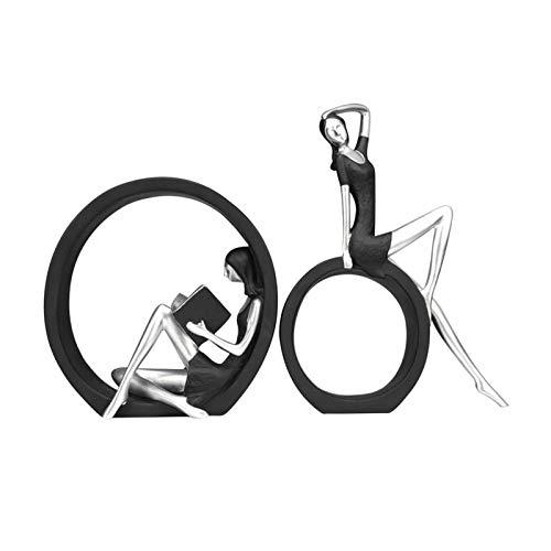 Resina Lectura Niña Figurita, Abstracto Femenino Figuritas Adorno Decoración Hogar Un Libro Estatuillas Regalos Para Lectores Profesores, Oficina Modelo Dama - Negro