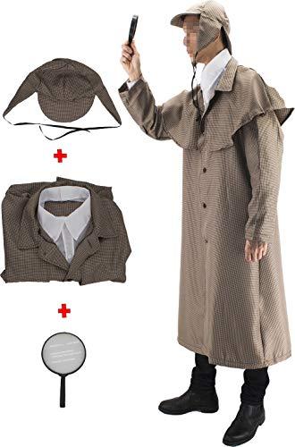 Gojoy shop- Disfraz de Sherlock Detective para Hombres y Mujeres Halloween Carnaval (Contiene Lupa, Gorro, Gabardina y Cuello, Talla Unica)