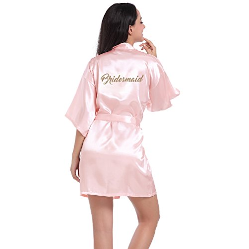 BOYANN Damas de Honor Ropa de Dormir Erótica para Mujer Sexy Batas y Kimonos de Satén, Rosa Claro S