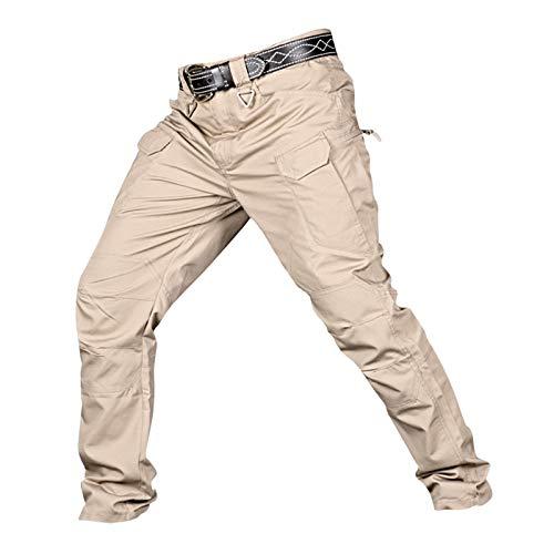 Colcolo Calças Casuais de Camuflagem Hip Hop Masculinas com Vários Bolsos para Caminhadas Ao Ar Livre, Camping, Pesca - Khaki_XXL
