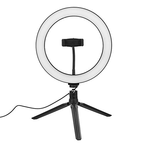 Trípode de Escritorio con Luz LED para Fotografía, 10 Pulgadas USB Anillo de Luz LED de Relleno Ajustable con Soporte para Teléfonos Móviles, Tornillo 1/4'', 3500-6000K, Control Remoto Bluetooth
