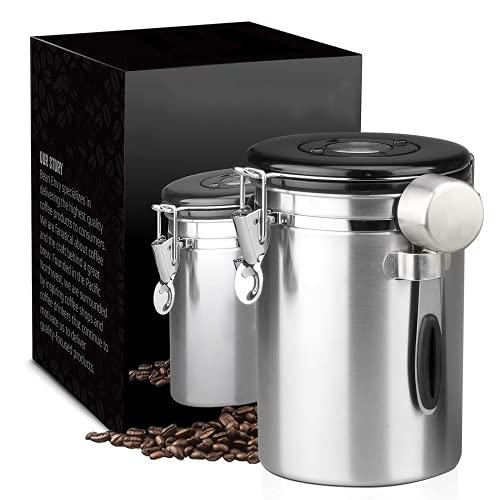 Recipiente Sellado de Acero Inoxidable para Granos de café y Tanque de Almacenamiento en Forma de Cuchara de Acero Inoxidable con válvula de Drenaje,Silver